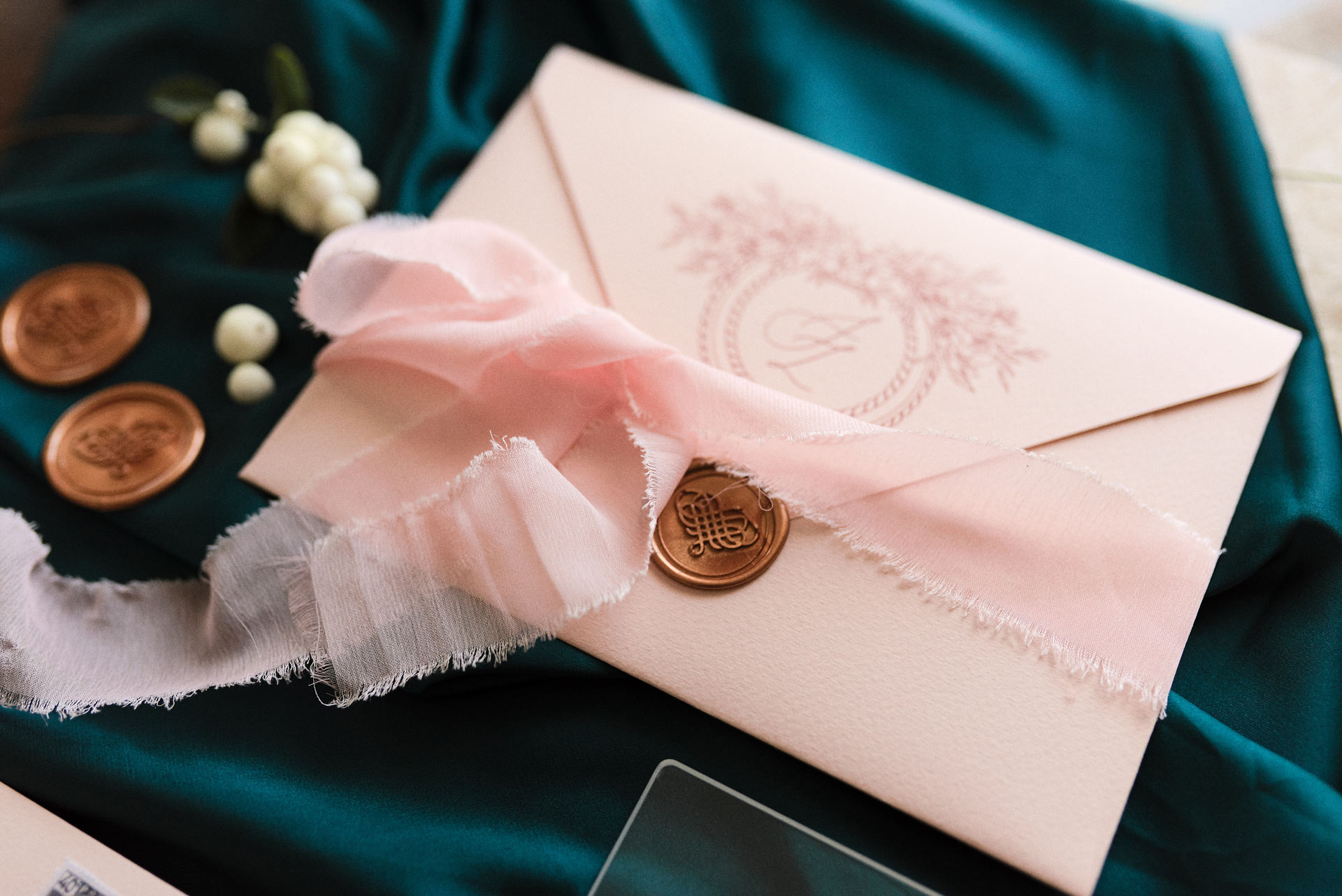 wedding seal on envelope